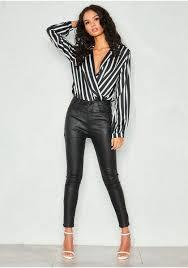 nina black faux leather high waist