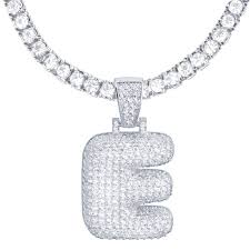 silver plated iced out pendant 24 inch