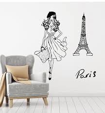 Vinyl Wall Decal Fashion Girl Paris Eiffel Tower French Model Romantic Wallstickers4you