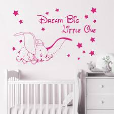 Vinyl Wall Decals Fly Dumbo Dream Big Little One Wall Sticker Cute Elephant Poster Mural Kids Baby Room Decoration W534 Buy At The Price Of 7 40 In Aliexpress Com Imall Com