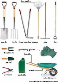 list of garden tools in spanish learn