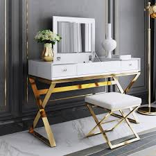 modern 2 drawer wood makeup vanity set