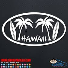 Hawaii Palm Trees Surfboards Car Window Vinyl Decal Sticker