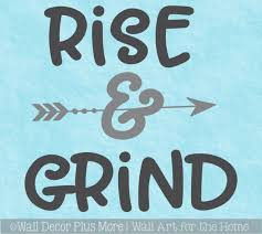 Office Gym Wall Decal Rise Grind Vinyl Lettering Motiviational Sticker