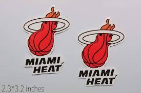 2 Pcs Miami Heat Logo Nba Color Die Cut Vinyl Sticker Car Etsy
