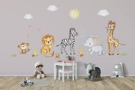 Safari Nursery Wall Art Safari Animal Wall Decal Zebra Wall Decal Afri Kidscutedecorations