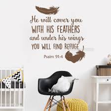 Newly Arrivals Psalm 91 4 Bible Verse Wall Sticker Decal For Bedroom Decor He Will Cover You With Vinyl Quotes Wallpaper Lc421 Sticker Decal Bible Versewall Sticker Aliexpress