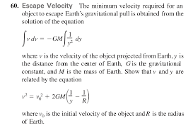 minimum velocity required for an object