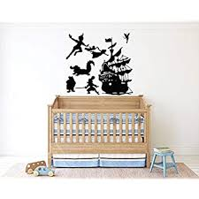 Amazon Com Peter Pan Cartoon Never Grow Up Wall Decal Sticker Ship Pirate Kids Children Boys Nursery Bedroom 446b Baby