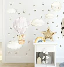 Nursery Decal Fabric Wall Decal Nursery Hot Air Balloon Etsy Girls Room Wall Decor Baby Wall Stickers Hot Air Balloon Nursery