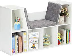 Amazon Com Costzon 6 Cubby Kids Bookcase W Cushioned Reading Nook Multi Purpose Storage Organizer Cabinet Shelf With Soft Cushion And Thick Wood Board For Children Girls Boys Bedroom Decor Room Modern White Furniture