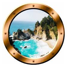 Beach Porthole 3d Ocean View Wall Decal Peel And Stick Decor Beach Style Wall Decals By Vwaq Vinyl Wall Art Quotes And Prints