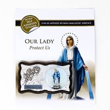 Direct From Lourdes Magnetic Car Plaque Miraculous With Adhesive Sticker