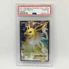 PSA 10 Jolteon EX Full Art #28a Pokemon Mega Powers Col