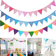 8 85ft Feet Fabric Banner Triangle Flags Bunting Decorations For Kids Room Baby Shower Birthday Wedding 12pcs Flags Wish