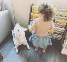 Childrens Bookshelf Sling Bookcase Grey With Chevron Pidoko Kids