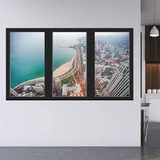 Vwaq Office Window Sticker Beach View Wall Decal Removable Reusable
