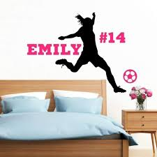 Amazon Com Personalized Girls Soccer Wall Decal Girls Futbol Gifts Girls Soccer Decor 30 Colors Several Sizes Handmade