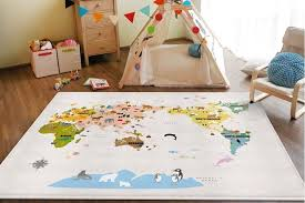 World Map Kids Rugs Play Mat Children Bed Toy Room Decor Tent Area Carpet Toy Room Decor Kids Rugs Kid Beds