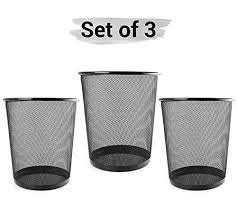 Buy Tied Ribbons Metal Mesh Big Size Dustbin For Kids Room Kitchen Living Room Office Use Room Small Set Of 3 Black Metal Mesh Features Price Reviews Online In India Justdial