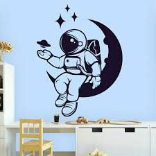 Space Astronaut Planet Stars Man Galaxy Moon Fun Decal Wall Art Sticker Home Uk Ebay