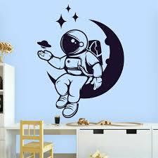 galaxy moon fun decal wall art