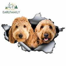 Earlfamily 13cm X 8 5cm Goldendoodle Car Sticker Torn Metal Decal Reflective Stickers Window Car Bumper Decoration Dog Decal Car Stickers Aliexpress