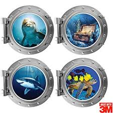 Amazon Com Ofisson 4 Pieces Bedroom 3d Wall Stickers Porthole Sea Life Art Sticker 3m For Kids Girls And Boys Playroom 12 Diameter Each Baby