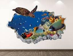 Aquarium Turtle Wall Decal Ocean Animal 3d Smashed Wall Art Etsy