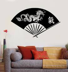 Vinyl Wall Decal Hand Fan Asian Dragon Oriental Art Wall Stickers Chinese Characters Wall Art Mural Home Decoration Gift Ay861 Wall Stickers Aliexpress
