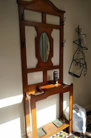 vintage antique oak hall stand with
