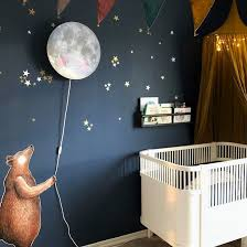 A Dark Wall In The Kids Room Are You Brave Enough We Feel It Makes The Brown Bear And Sleepy Moon Wall Lamp Kids Room Inspiration Baby Room Design Kids Lamps