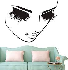 Amazon Com Fashion Removable Beauty Lashes Eyes Wall Decal Women Face Spa Salon Decor Sticker Home Decor Bedroom Art Vinyl Wall Sticker A 94 Black Home Kitchen