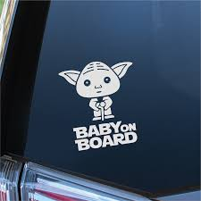 Baby On Board Car Vinyl Decal Sticker Yoda Londondecal Inverted