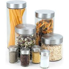 8 piece glass canister and spice jar