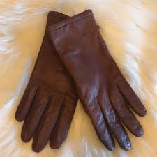 womens brown leather gloves size s