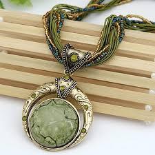 retro bohemia large stone pendant necklace