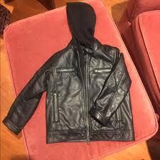 boys faux leather hooded moto jacket
