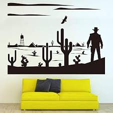 Amazon Com Vodoe Cactus Wall Decal Succulent Wall Decal Potted Plant Desert Cowboy Eagle Cloud Mural Stickers Suitable For Family Living Room Vinyl Art Home Decor Black 29 X 21 6 Inches Home Kitchen