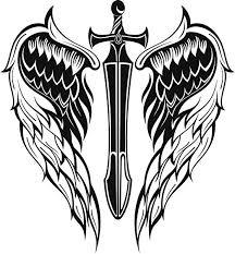 Amazon Com Ew Designs Cross Sword With Angel Wings Vinyl Decal Bumper Sticker 8 Tall Kitchen Dining