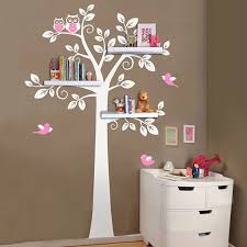 Nursery Wall Art Decals Tree Owl Baby And Mother Wall Sticker Removable Shelves For Kids Bedroom Home Decor Shelf Not Included Wall Art Decals Sticker Removerwall Sticker Aliexpress