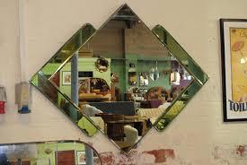 original art deco mirror with green