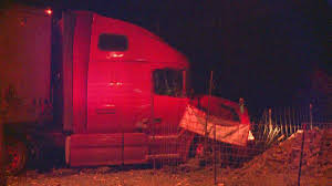 Tractor Trailer Runs Off Road Into Fence