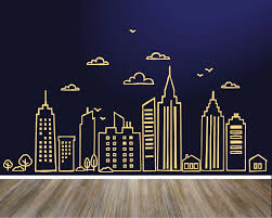 Large Doodled City Skyline Bird Cloud Wall Sticker Bedroom Living Room City Skyline Landscape Wall Decal Kids Room Vinyl Decor Wall Stickers Aliexpress