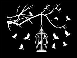 Bird Cage Branch Laptop Decal Custom Vinyl Birds Sticker Customvinyldecals4u