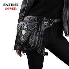 waist bags vintage women black leather