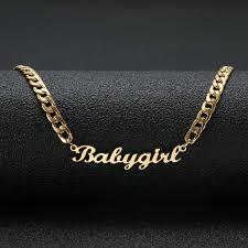 gold color babygirl name necklace