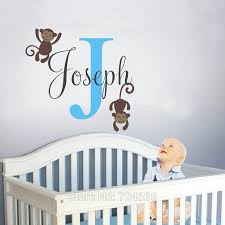 Custom Made Vinyl Monkey Name Wall Decal Safari Vinyl Decals Nursery Children Baby Rooms Decor You Choose Name And Color Baby Room Decor Room Decorationname Wall Decals Aliexpress