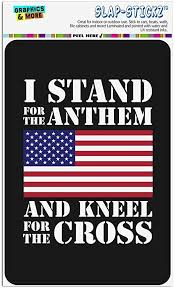 Amazon Com Graphics More I Stand For The Flag Kneel Cross Usa American Flag Patriotic Home Business Office Sign Home Kitchen