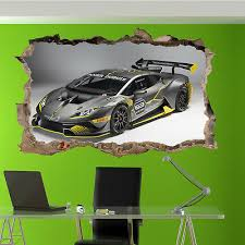 Lamborghini Gallardo Smashed Wall Decal Wall Sticker Art Mural Race Cars H970